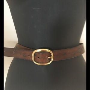 Vintage Hand Tooled  Acorn & Leaf Leather Belt. 44
